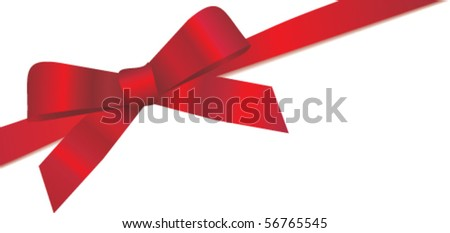 Vector red silk ribbon and bow - stock vector