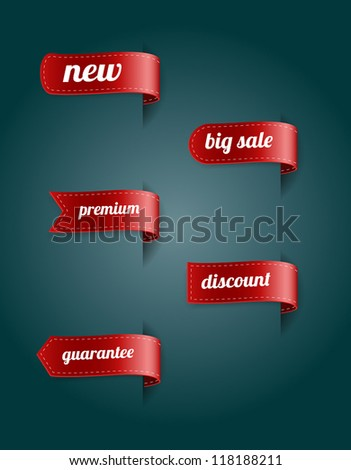 Vector red silky ribbon tags collection. New, Big Sale, Premium, Discount, Guarantee - stock vector