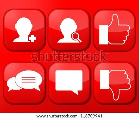 Vector red social Network app icon set. Eps10 - stock vector
