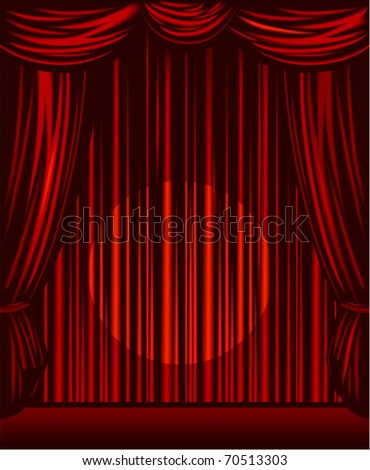 Vector red stage curtains open with spot light on the center