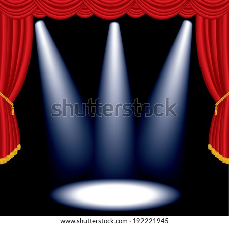 vector red stage with one three spot lights - stock vector