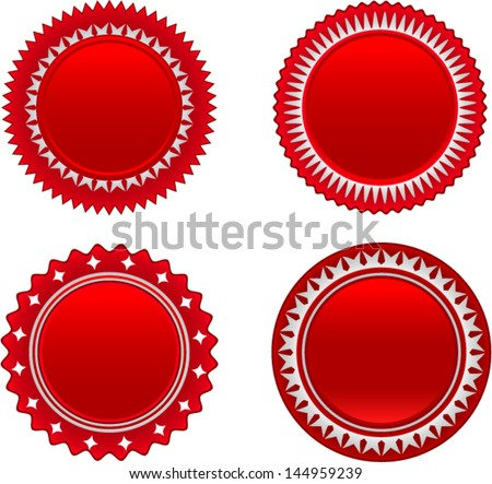 vector red starburst set 2 - Separate layers for easy editing - stock vector
