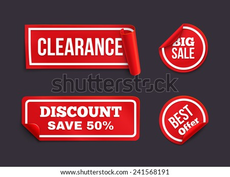 Vector red stickers with curled edge. Stickers on the theme of consumerism. - stock vector