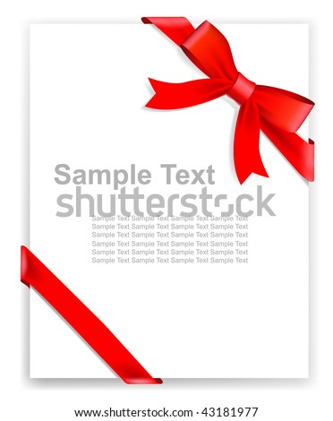 Vector red tape and bow, no size limit. proportion of A4 format vertical. - stock vector