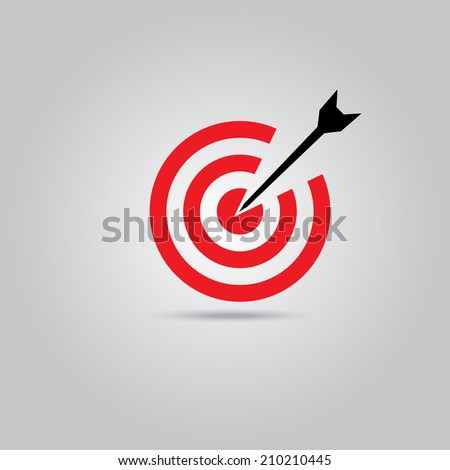 vector red target icon with black arrow. logo design template