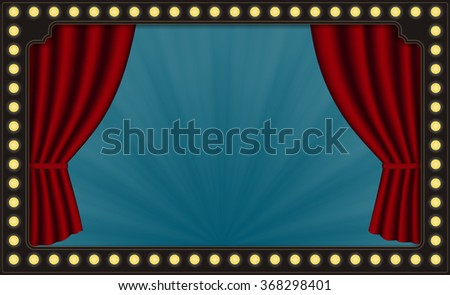 Vector Red Theater Curtains, Circus Lights, Horizontal Blue Background and Light Beams