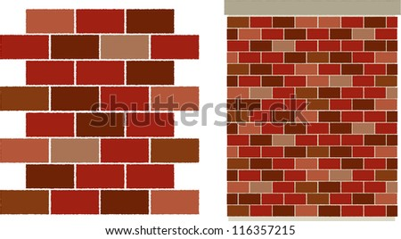 vector red varied Brick wall pattern - easily edit to make your own brick pattern! - stock vector