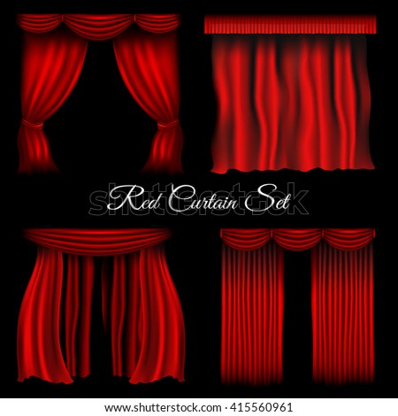 Vector red various curtains on transparent background