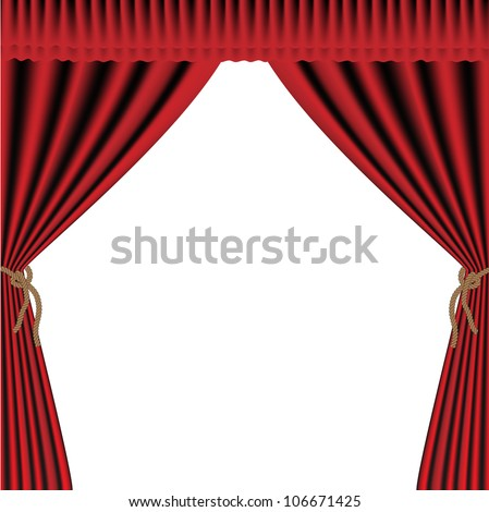 Vector Red velvet curtain for background - stock vector