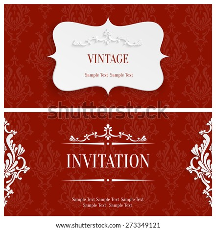 Vector Red Vintage Background with 3d Floral Damask Pattern for Greeting or Invitation Card Design in Paper Cut Style - stock vector