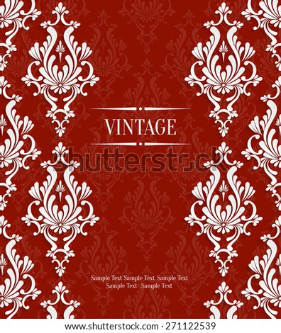 Vector Red Vintage Background with 3d Floral Damask Pattern Template for Wedding or Invitation Card - stock vector
