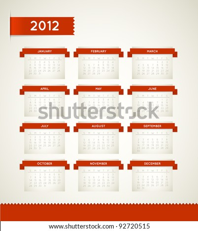 Vector Red Vintage retro calendar - stock vector
