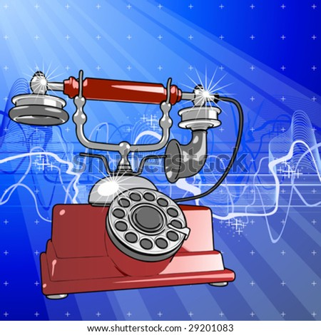 Vector red vintage telephone & blue technology background