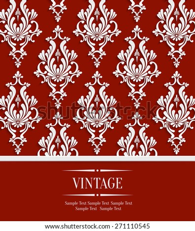 Vector Red Vintage Wedding or Invitation Background with 3d Floral Damask Pattern - stock vector