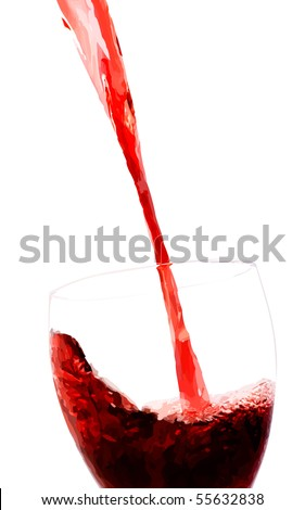 Vector red wine stream flows into glass. Filled with solid colors only.