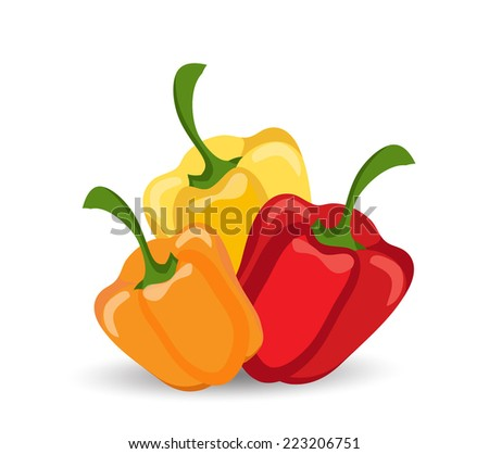 Vector red, yellow and orange peppers - stock vector