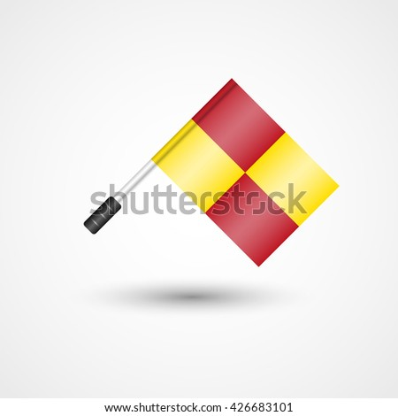 Vector Referee Flag Icon | Offside Line | Football, Soccer Rules - stock vector