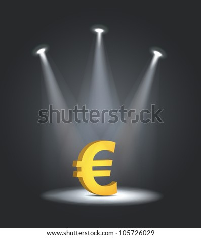 vector reflector light euro symbol - stock vector
