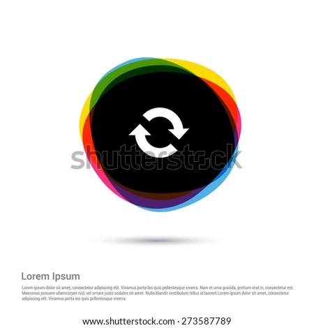 Vector refresh icon, White pictogram icon creative circle Multicolor background. Vector illustration. Flat icon design style - stock vector