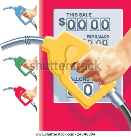Vector refueling hose and gas station counters - stock vector