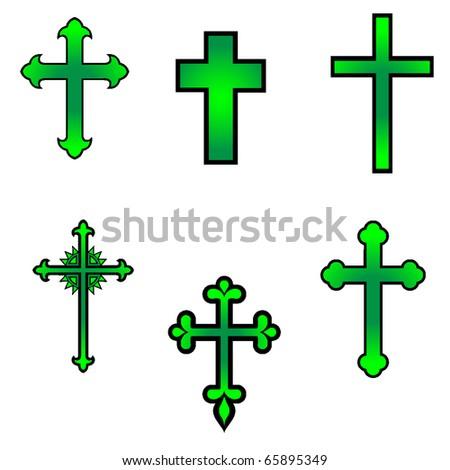 vector religious cross design collection - stock vector