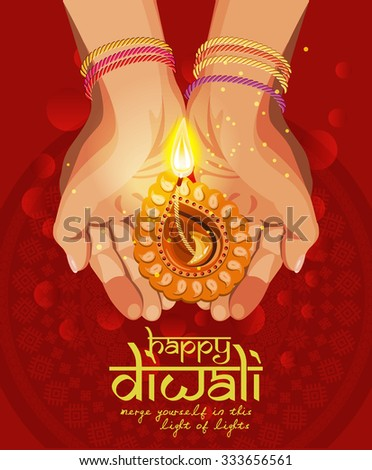 Vector Religious illustration of burning diya on Diwali Holiday red background - stock vector