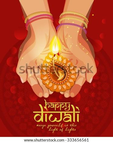 Vector Religious illustration of burning diya on Diwali Holiday red background - stock vector