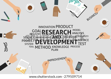 research and development plan template - vector research development concept template stock vector