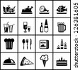 Vector restaurant black icon set isolated on white - stock vector