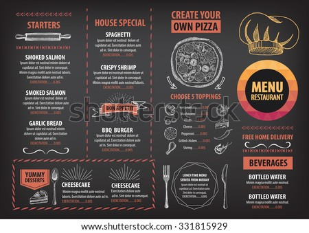 Vector Restaurant Brochure Menu Design Vector Stock Vector
