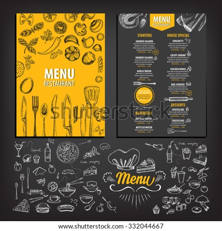 Vector Restaurant Brochure Menu Design Vector Stock Photo Photo