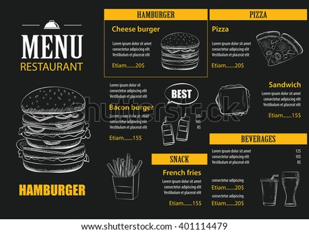 vector restaurant cafe menu with hand drawn graphic template flat design - stock vector