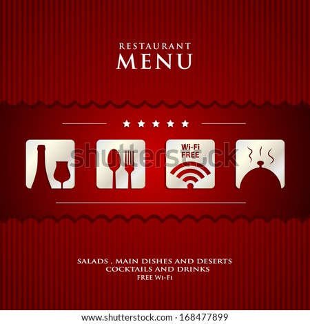 vector Restaurant Menu design  on red background cover - stock vector