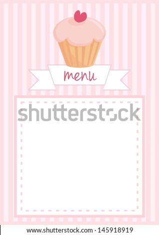 Vector restaurant menu, wedding card, list or baby shower invitation with sweet retro cupcake on pink vintage pattern or stipes texture background with white space for your own text message.  - stock vector