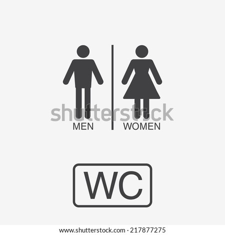 Vector restroom icons: lady, man - stock vector