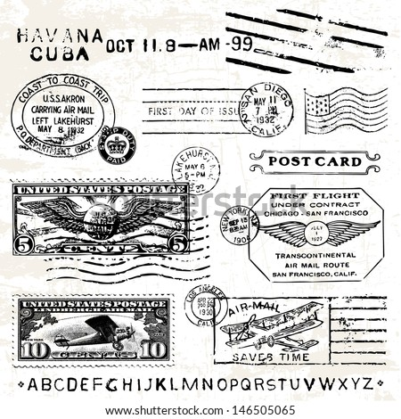Vector Retro Air Mail Stamps. Great for vintage designs. - stock vector