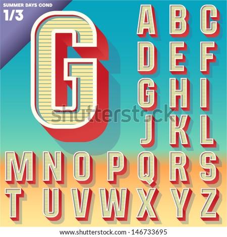 Vector retro alphabet for Summer typography design. Condensed style. Upper cases - stock vector