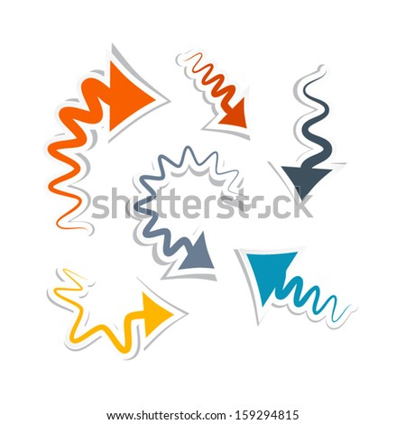 Vector Retro Arrows Isolated on White Background