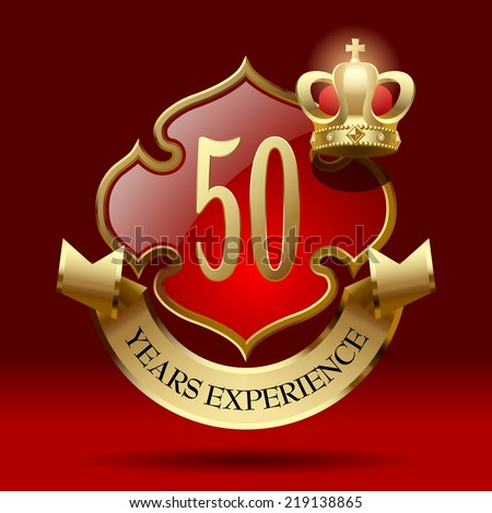 Vector retro artistic badge in the form of a shields with gold ribbon and crown against a dark red background. Years Experience Badge - stock vector
