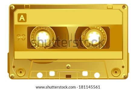 Vector retro audio cassette. Gold music award music tape. Isolated on white background. Vector art eps10, illustration - stock vector