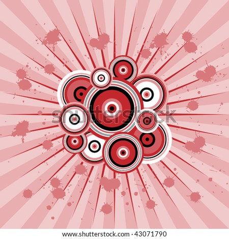 vector retro background burst in red black and pink - stock vector