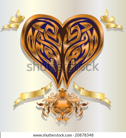 Tribal Heart With Banner Vector Stylized...