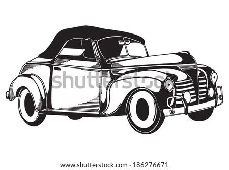 Vector retro car - stock vector