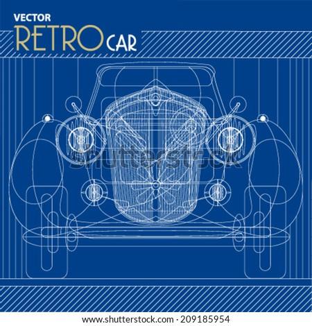 Vector retro car blueprint background illustration stock vector vector retro car blueprint background illustration malvernweather Gallery