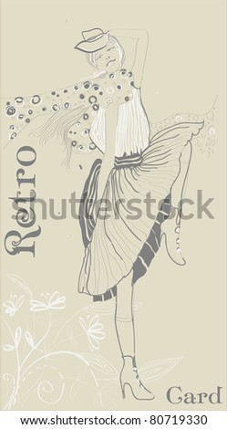 Vector retro card with beautiful fashion girl - stock vector