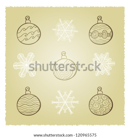 Vector retro card with Christmas fir tree decorations - stock vector