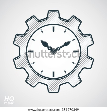 Vector retro cog wheel and clock with an hour hand, gear symbol. Production process planning conceptual icon. Industry and engineering design element  - stock vector
