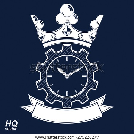 Vector retro cog wheel and clock with crown, business organizer symbol. Production process planning conceptual icon. Engineering design element �¢?? gear. Imperial theme emblem. - stock vector