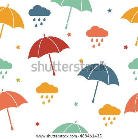 Vector retro colored umbrellas and rainy clouds seamless pattern. Cute cartoon background.
