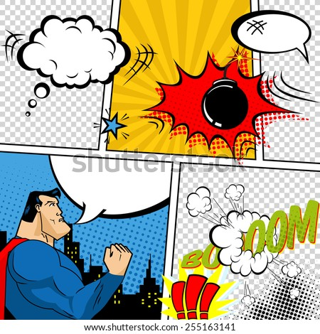 Vector Retro Comic Book Speech Bubbles Illustration. Mock-up of Comic Book Page with place for Text, Speech Bubbles, Symbols, Sound Effects, Colored Halftone Background and Superhero - stock vector